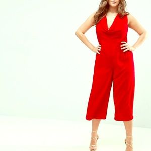 ASOS Red Cowl Neck Jumpsuit